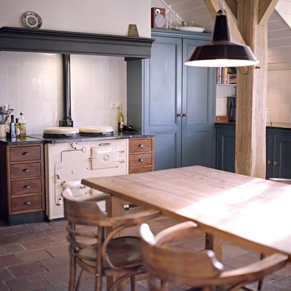Blauwe landelijke keuken scandinavische keuken met blauwe vloerinterieur inrichting blauwe - Scandinavische blauwe ...